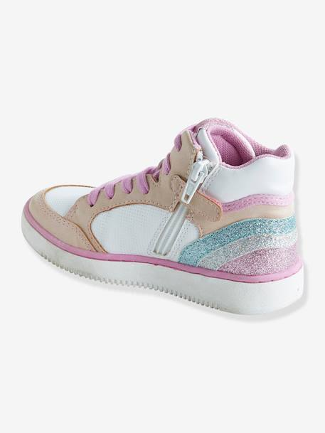 Trainers with Zip & Laces for Girls BLUE MEDIUM SOLID WITH DESIGN+WHITE LIGHT SOLID WITH DESIGN