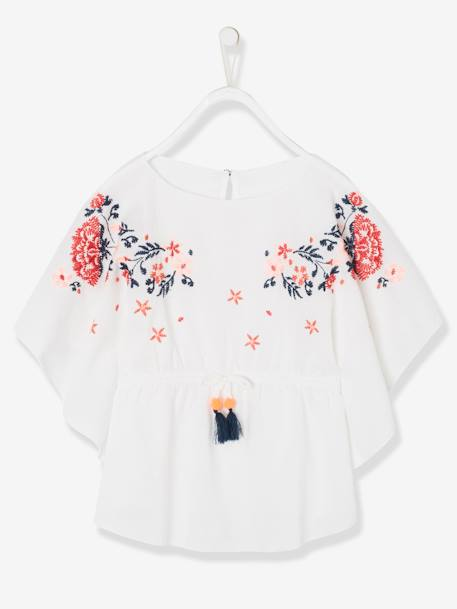 Embroidered Beach Tunic for Girls WHITE LIGHT SOLID WITH DESIGN