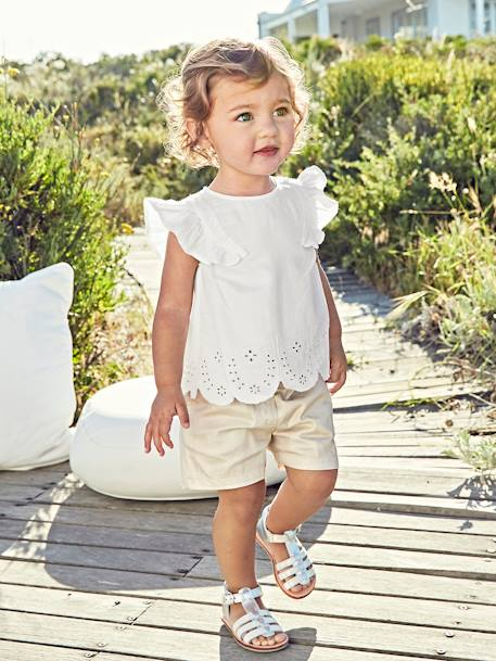 Broderie Anglaise Blouse for Baby Girls WHITE LIGHT SOLID