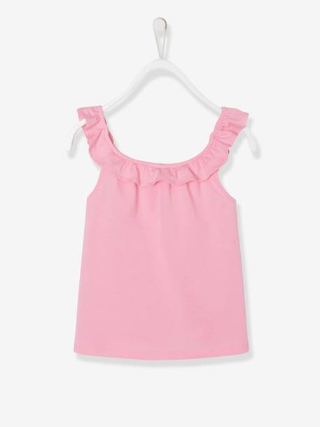 Top with Frills & Motifs with Glitter, for Girls GREEN LIGHT SOLID WITH DESIGN+PINK MEDIUM SOLID WITH DESIG+WHITE LIGHT SOLID WITH DESIGN