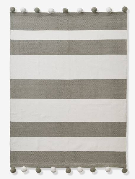 Striped Rug, with Pompons GREY MEDIUM  ALL OVER PRINTED