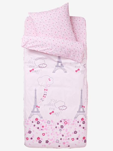 Ready-for-Bed 3-Piece Set without Duvet, Eiffel Tower Light violet