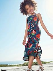 Girls-Dresses-Long Dress with Flower Print, for Girls