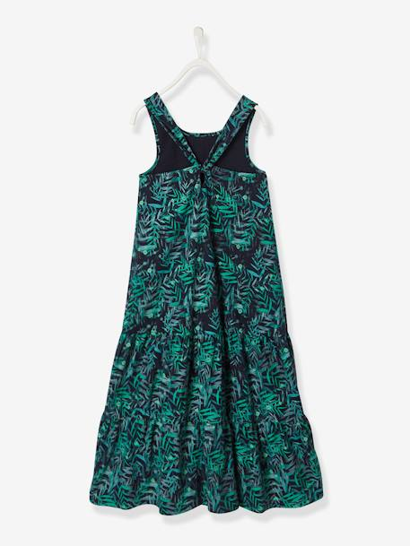 Long Dress for Girls GREEN DARK ALL OVER PRINTED+YELLOW LIGHT SOLID