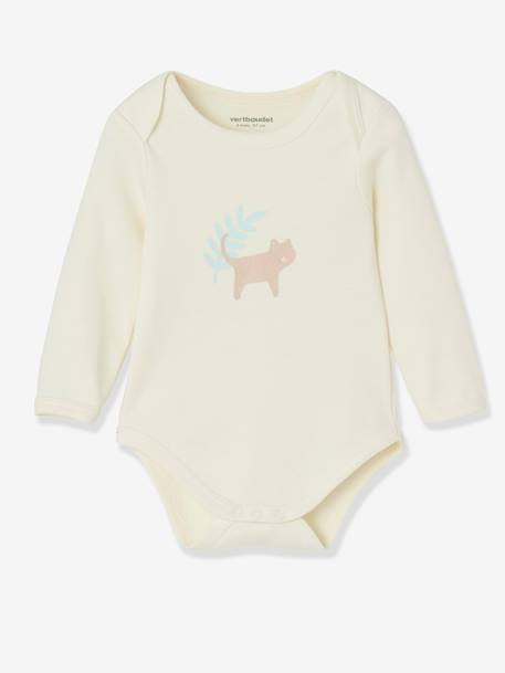 Pack of 5 Long-Sleeved Bodysuits for Babies in Pure Cotton, Little Paradise BLUE LIGHT TWO COLOR/MULTICOL+PINK LIGHT 2 COLOR/MULTICOL R