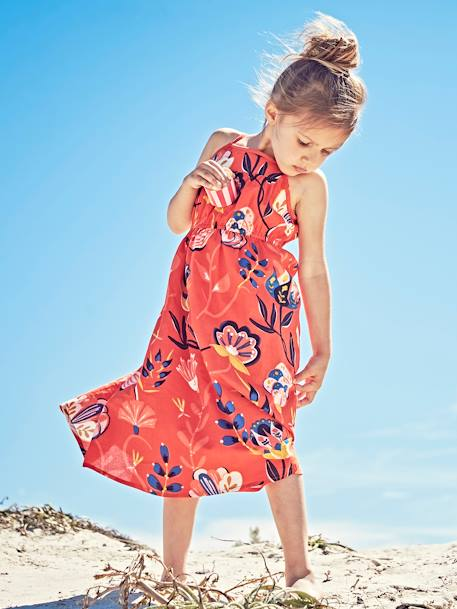Long Dress with Flower Print, for Girls BLUE DARK ALL OVER PRINTED+ORANGE BRIGHT ALL OVER PRINTED