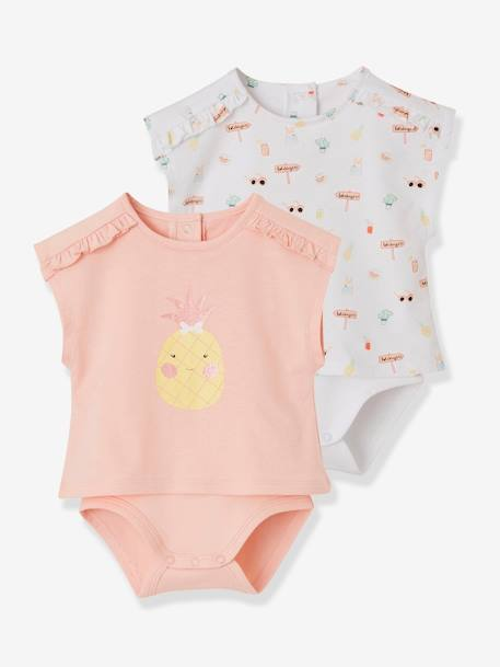 Pack of 2 Assorted Bodysuit T-shirts for Baby Girls WHITE LIGHT TWO COLOR/MULTICOL