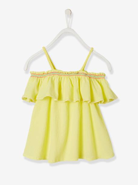 Embroidered Off-the-Shoulder Top for Girls YELLOW LIGHT SOLID WITH DESIGN