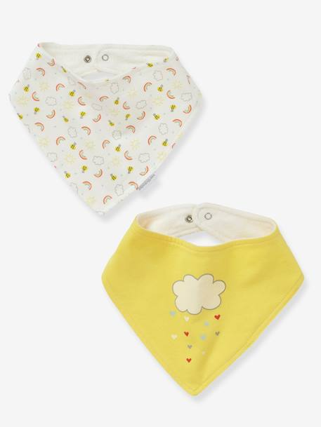 Pack of 2 Bandana-Style Bibs GREY LIGHT SOLID WITH DESIGN+YELLOW MEDIUM SOLID WTH DESIGN