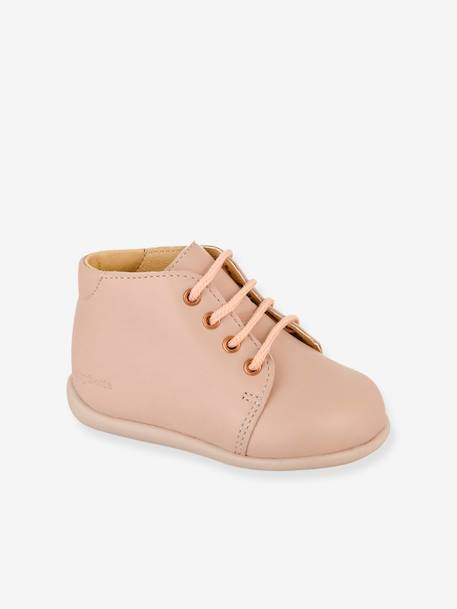Leather Boots with Laces, Fredy by Babybotte®, for Baby Girls BEIGE MEDIUM SOLID+BLUE DARK SOLID+PINK LIGHT SOLID