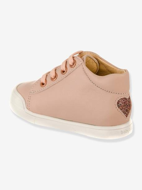 Leather Boots with Laces, Fael by Babybotte®, for Baby Girls PINK LIGHT SOLID
