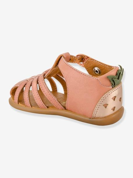 Leather Sandals for Baby Girls, Guyana by Babybotte® BEIGE LIGHT METALISED+PINK MEDIUM SOLID+WHITE LIGHT SOLID