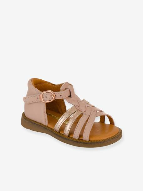 Leather Sandals for Baby Girls, Tourbillon by Babybotte® BEIGE LIGHT METALISED+PINK LIGHT SOLID+WHITE LIGHT SOLID