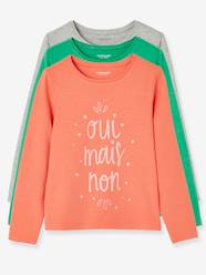 Girls-Tops-Pack of 3 Long-Sleeved T-Shirts for Girls