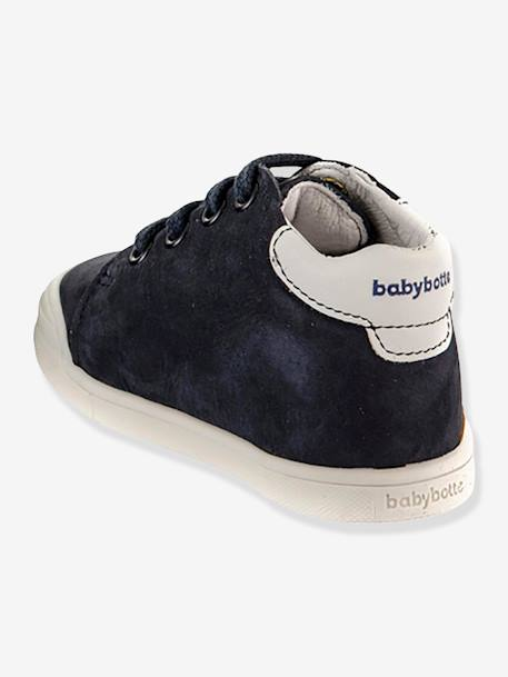 Leather Boots with Laces, Frero by Babybotte®, for Baby Boys BEIGE MEDIUM SOLID+BLUE DARK SOLID
