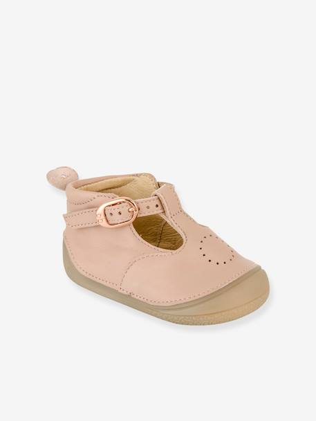 T-Strap Leather Ankle Boots for Baby Girls, Zia by Babybotte® PINK LIGHT SOLID+WHITE LIGHT SOLID