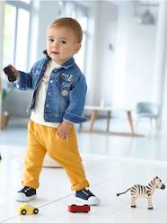 Baby-Outerwear-Denim Jacket with Patches for Baby Boys