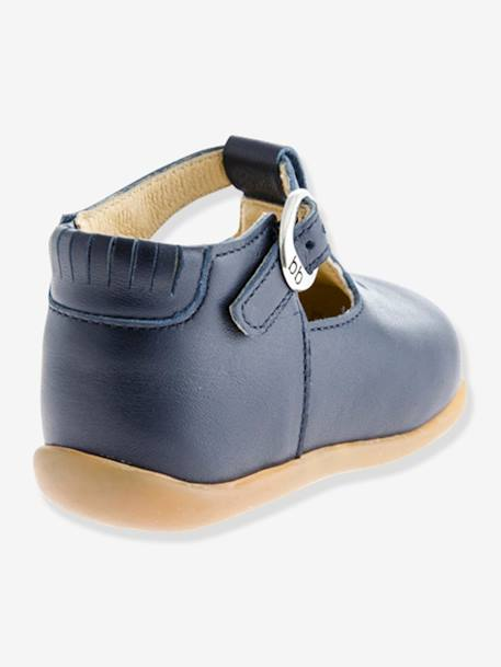 Leather Shoes, Paris by Babybotte®, for Baby Girls BLUE DARK SOLID+GREY LIGHT METALLIZED+WHITE LIGHT SOLID