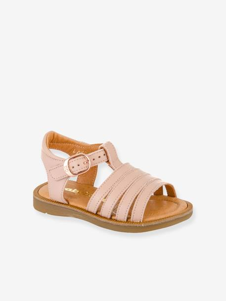 Leather Sandals for Baby Girls, Tamara by Babybotte® BEIGE LIGHT METALISED+PINK LIGHT SOLID