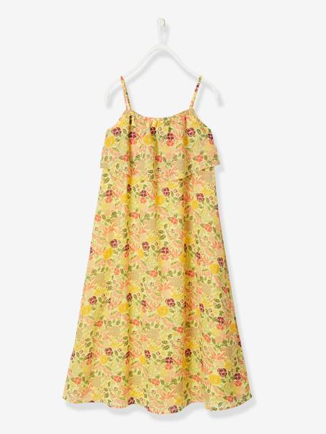 Long Dress with Flower Print, for Girls BLACK DARK ALL OVER PRINTED+WHITE LIGHT ALL OVER PRINTED+YELLOW LIGHT ALL OVER PRINTED