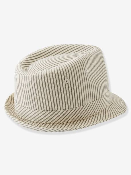 Striped Borsalino-Type Hat for Boys GREY LIGHT STRIPED