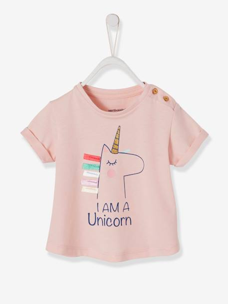 738323f6e167 T-Shirt with Rainbow or Unicorn Motif and 3D Details