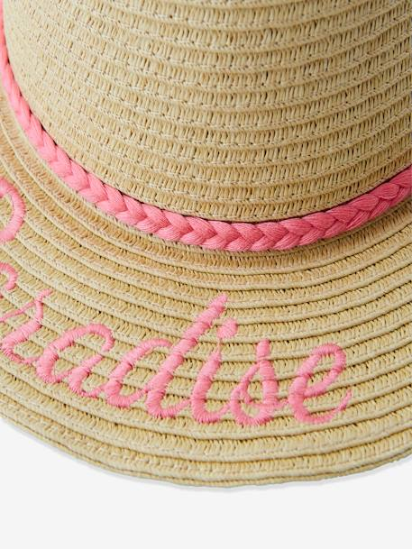 Embroidered Straw Hat for Girls BEIGE MEDIUM SOLID WITH DECOR