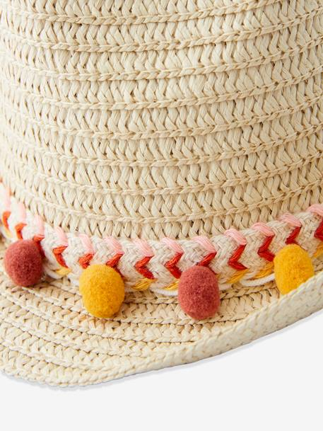 Panama-Type Straw Hat with Ribbon & Pompons for Girls ORANGE MEDIUM SOLID+RED LIGHT SOLID