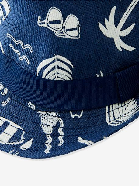 Panama-Style Hat for Boys BLUE MEDIUM ALL OVER PRINTED