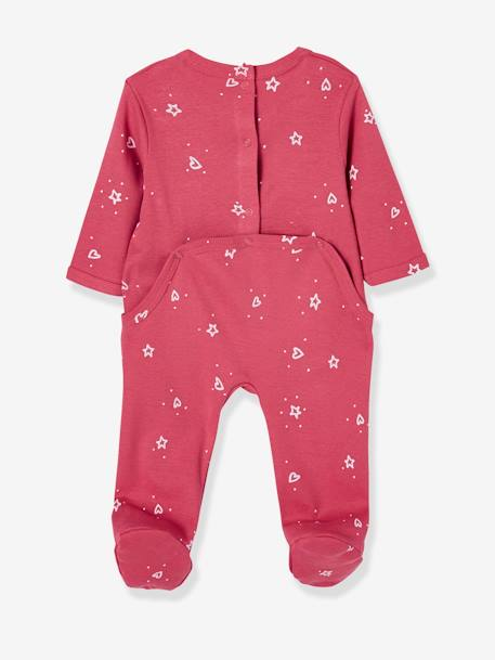 Babies Pack of 3 Pyjamas, Press-studs on the Back PINK DARK 2 COLOR/MULTICOL OR