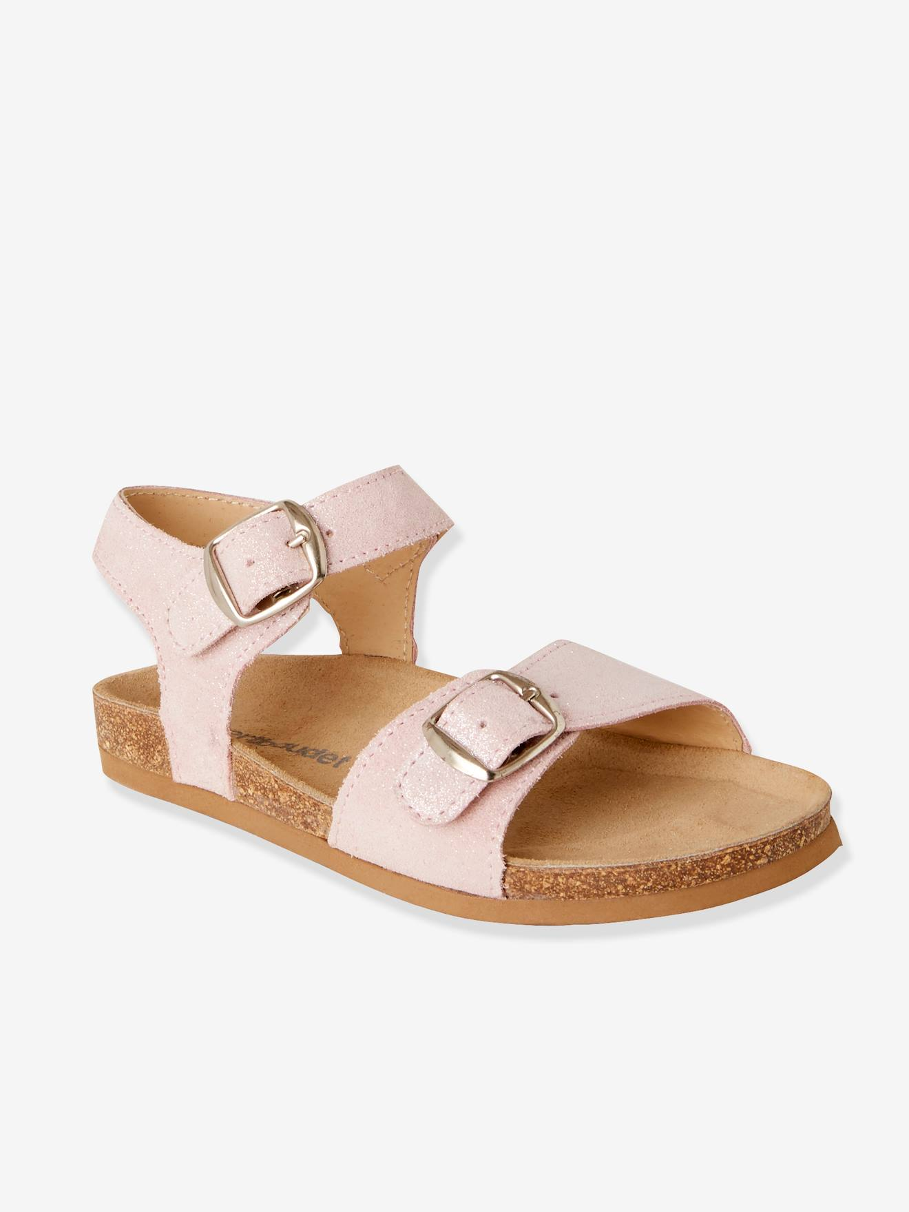 682d18b2c0e0 Anatomic Leather Sandals for Girls - pink light solid