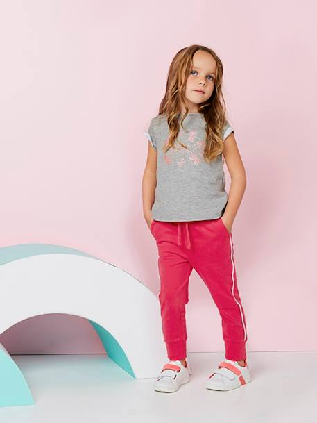 Jogger-Type Trousers for Girls BLUE DARK SOLID+GREY DARK SOLID+RED MEDIUM SOLID