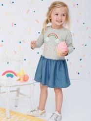 Girls-Dual Fabric Dress with Embroidered Rainbow for Girls