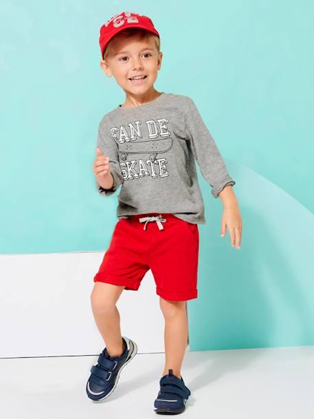 Boys' Fleece Bermuda Shorts - red dark solid, Boys   Vertbaudet