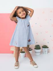 Girls-Dresses-Dress with Ruffle & Embroidered Butterflies for Girls