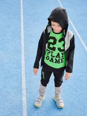 Click to view product details and reviews for Joggers For Boys Techno Fabric Black Dark Solid With Design.