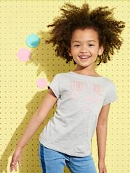 Girls-Tops-T-Shirt for Girls with Fancy Message in Iridescent Puff Ink