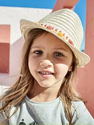 Girls-Accessories-Panama-Type Straw Hat with Ribbon & Pompons for Girls