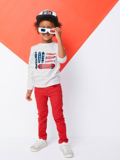 Long-Sleeved Top with Skateboard, Details in Puff Ink Print, for Boys BLUE DARK SOLID WITH DESIGN+WHITE LIGHT SOLID WITH DESIGN
