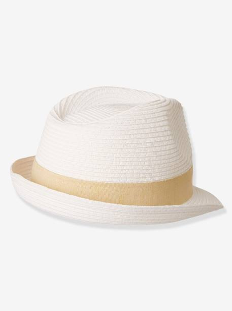 Panama-Style Hat for Girls, Tulle Flower WHITE LIGHT SOLID