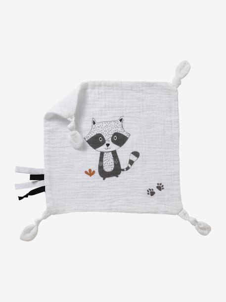 Square Baby Comforter in Fabric, Raccoon WHITE LIGHT SOLID WITH DESIGN