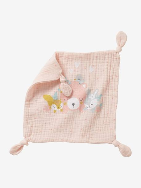 Square Baby Comforter in Fabric, Forest PINK MEDIUM SOLID WITH DESIG