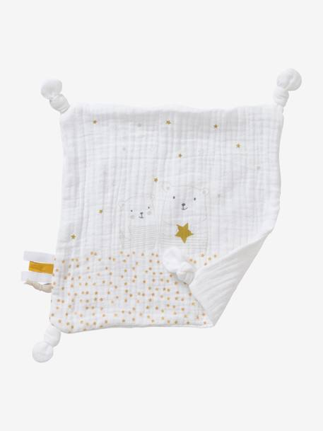Square Baby Comforter Toy in Fabric, Little Teddy WHITE LIGHT SOLID WITH DESIGN