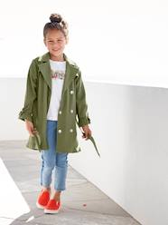 Girls-Coats & Jackets-Showerproof Trench Coat with Ruffles at the Cuffs for Girls