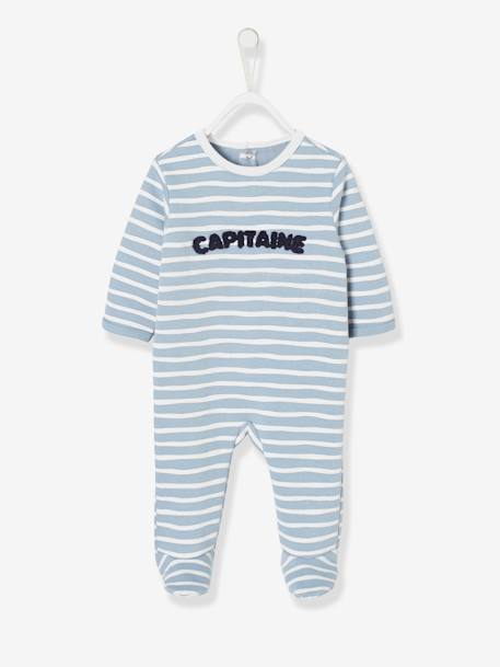 Fleece Sleepsuit for Babies, Back with Press Studs BLUE MEDIUM STRIPED