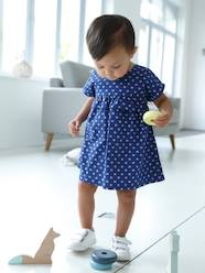 Baby-Dresses & Skirts-Short-Sleeved Dress with Graphic Motifs for Baby Girls