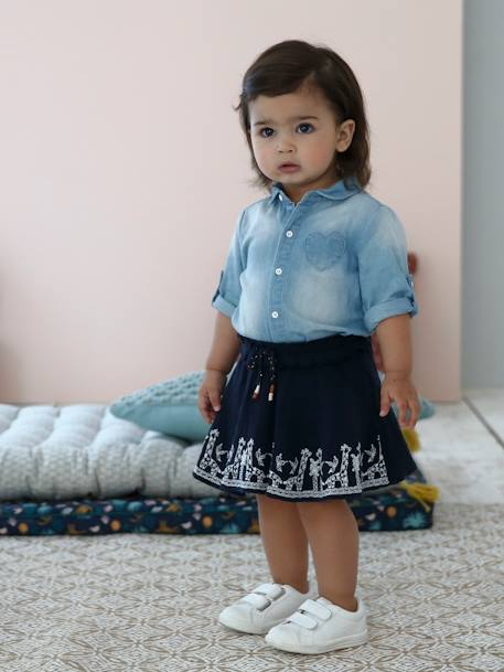 Embroidered Skirt with Giraffe Motif for Baby Girls BLUE DARK SOLID WITH DESIGN