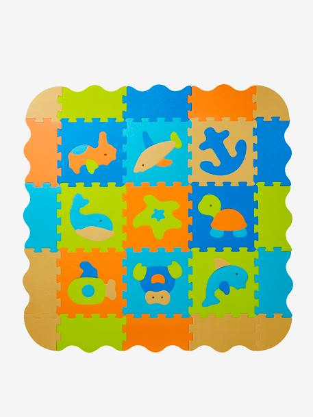 Large Foam Mat with Puzzle, Ocean WHITE MEDIUM SOLID WITH DESIGN