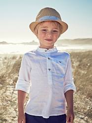 Boys-Shirt in Linen/Cotton, Mandarin Collar, Long Sleeves, for Boys
