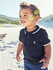 Baby-T-shirts & Roll Neck T-Shirts-Polo Shirt with Embroidery on the Chest, for Baby Boys